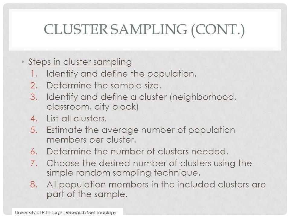 Cluster Sampling (cont.)