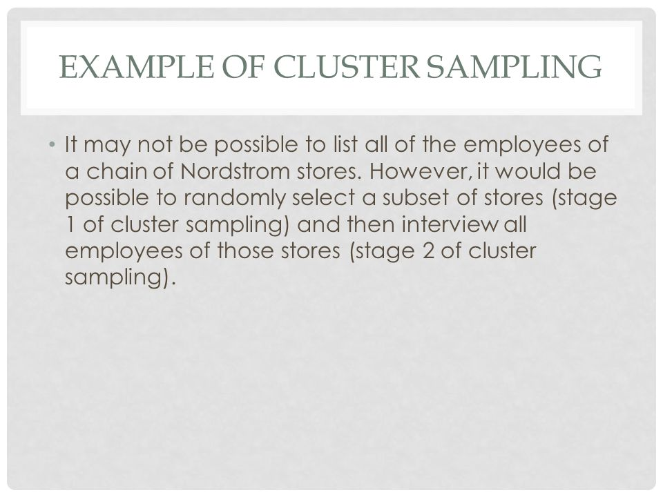 Example of cluster sampling