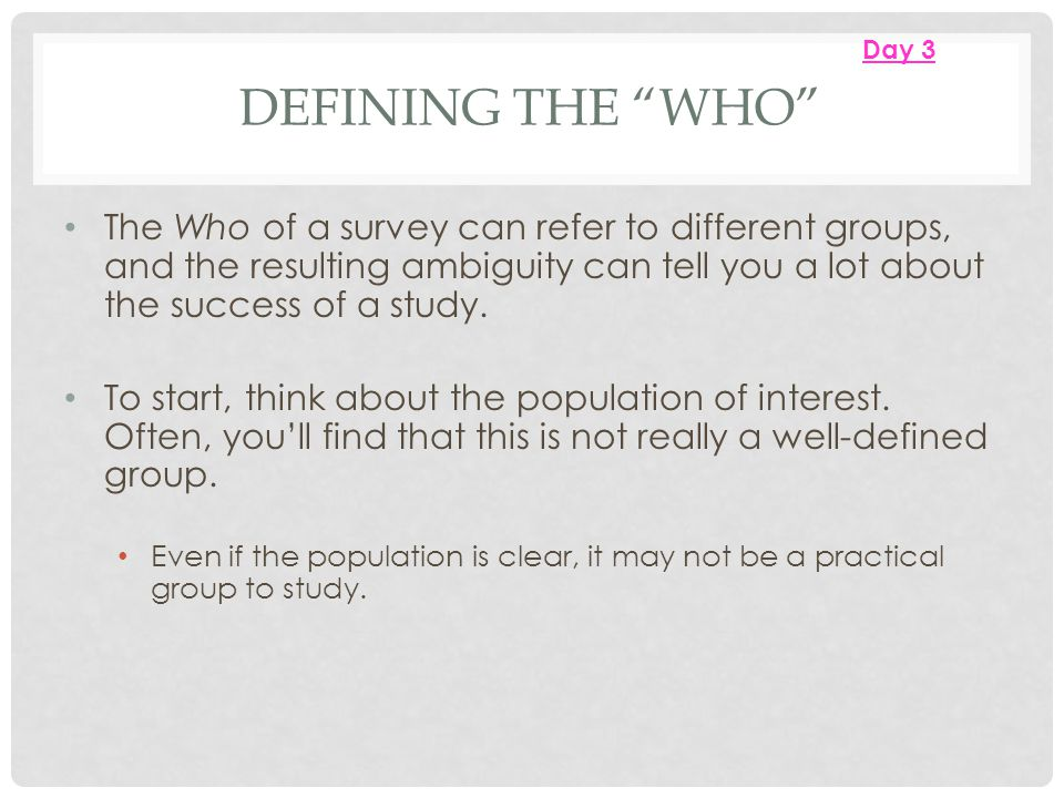Day 3 Defining the Who