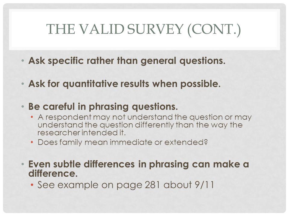 The valid survey (cont.)