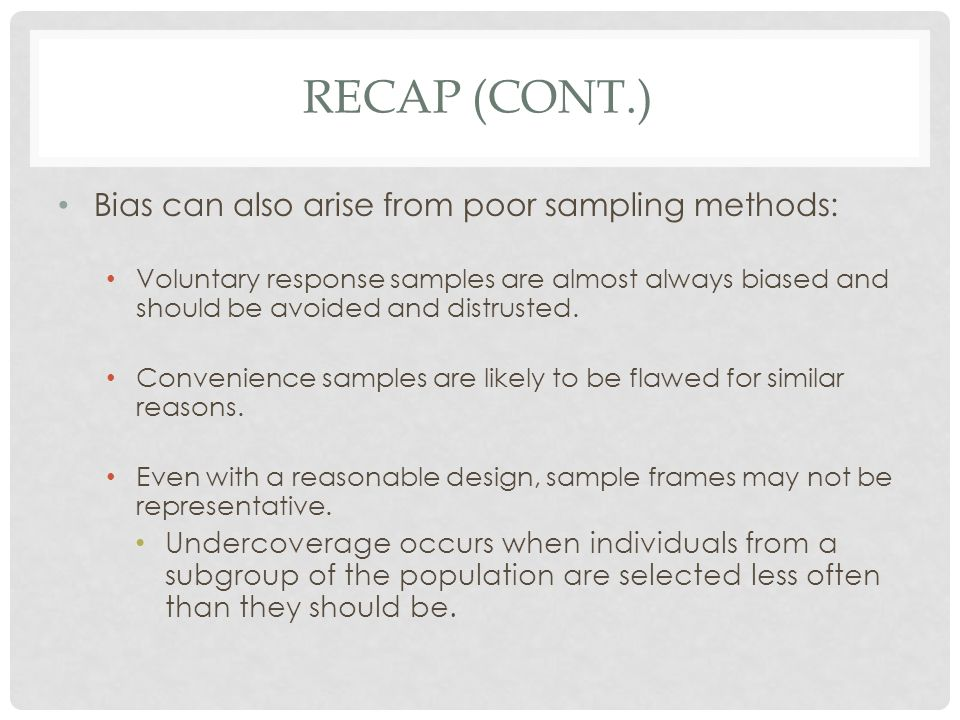 Recap (cont.) Bias can also arise from poor sampling methods: