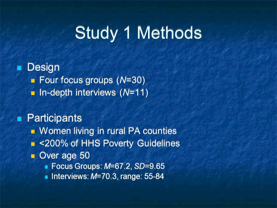 Study 1 Methods Design Participants Four focus groups (N=30)