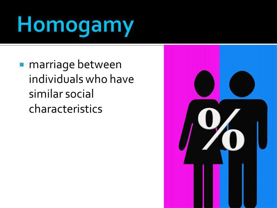 Homogamy marriage between individuals who have similar social characteristics
