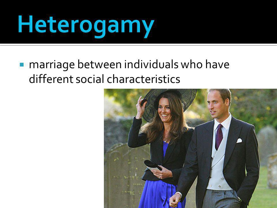 Heterogamy marriage between individuals who have different social characteristics