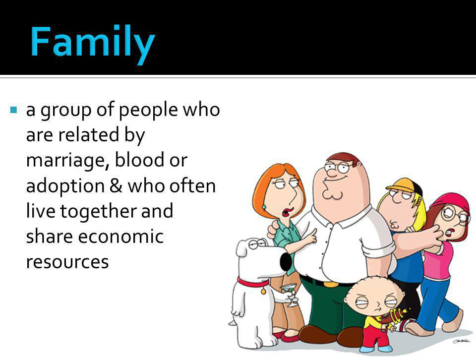 Family a group of people who are related by marriage, blood or adoption & who often live together and share economic resources.