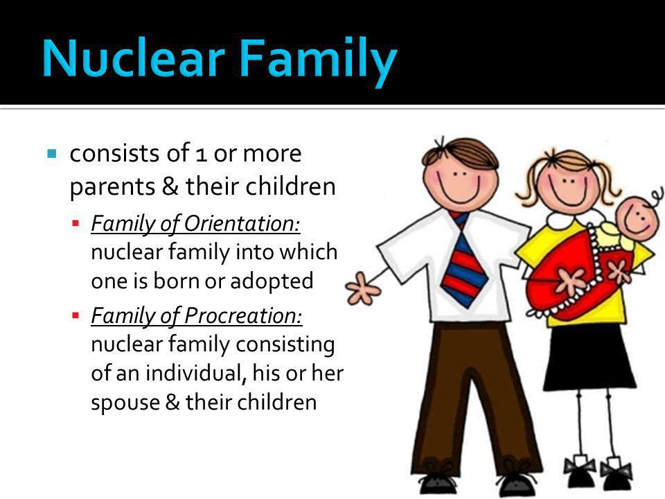 Nuclear Family consists of 1 or more parents & their children
