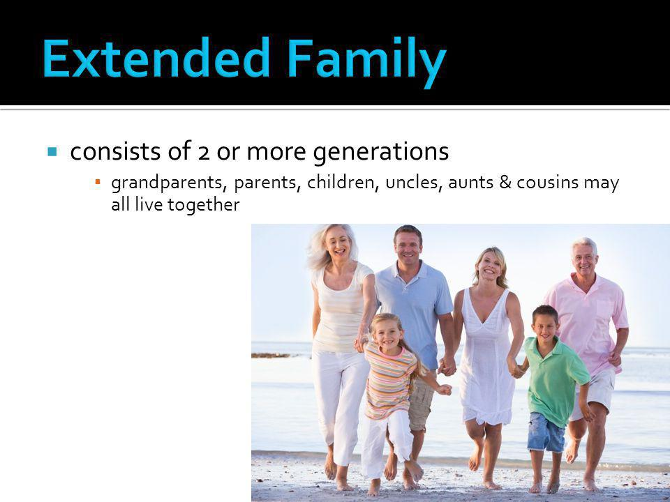Extended Family consists of 2 or more generations