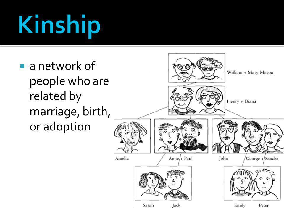 Kinship a network of people who are related by marriage, birth, or adoption