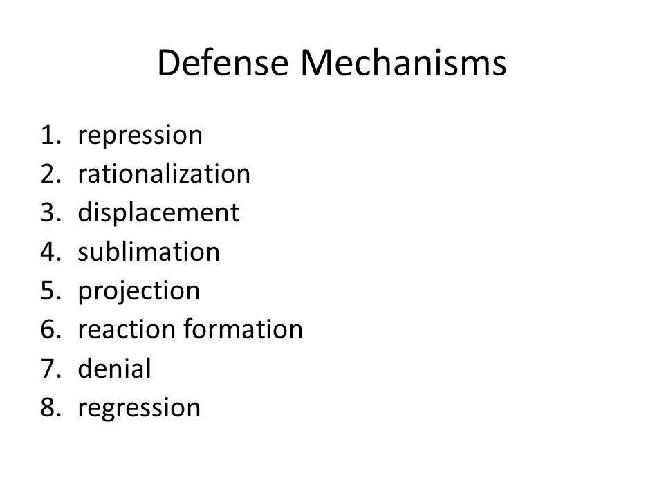 Defense Mechanisms repression rationalization displacement sublimation