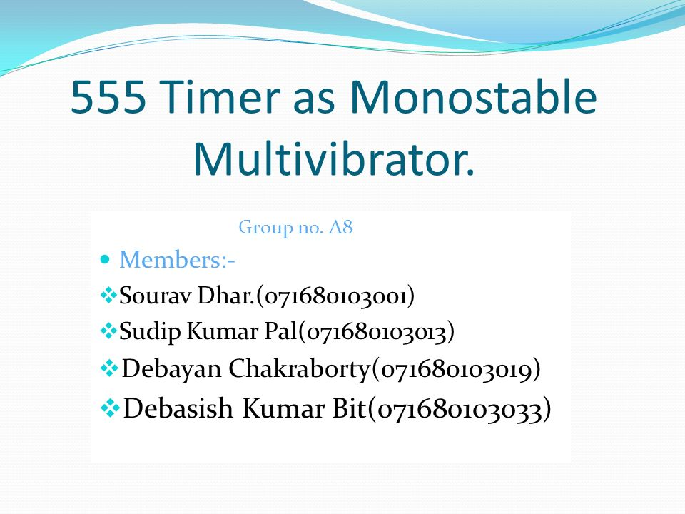 555 Timer as Monostable Multivibrator.