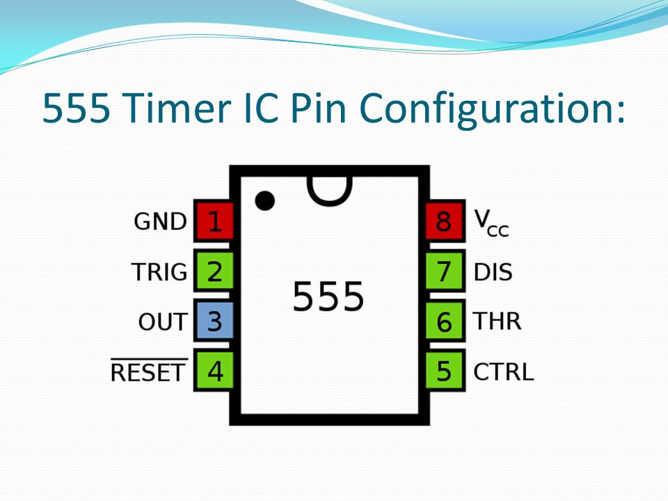 555 Timer IC Pin Configuration: