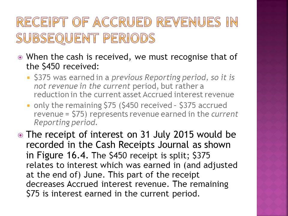 Receipt of accrued revenues in subsequent periods
