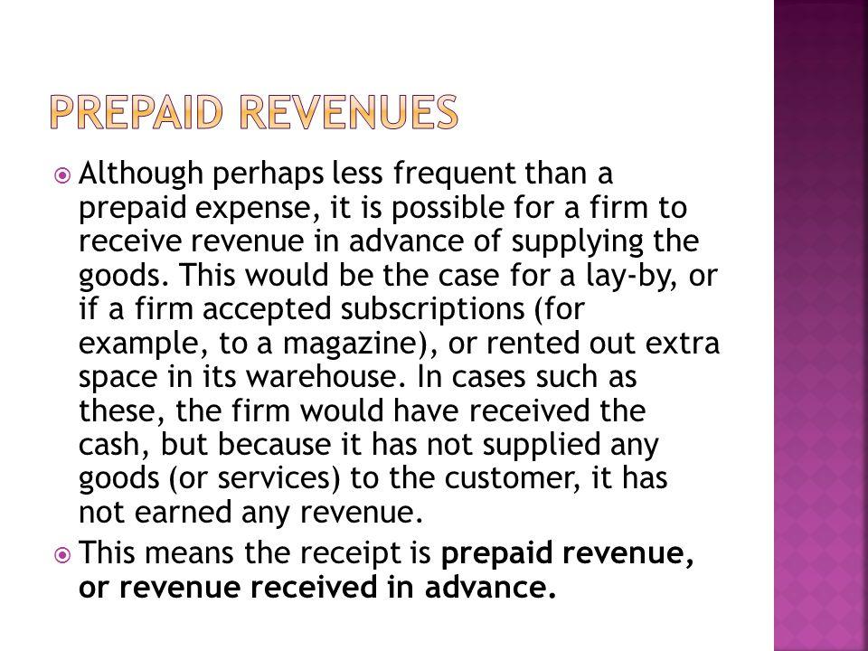 Prepaid revenues