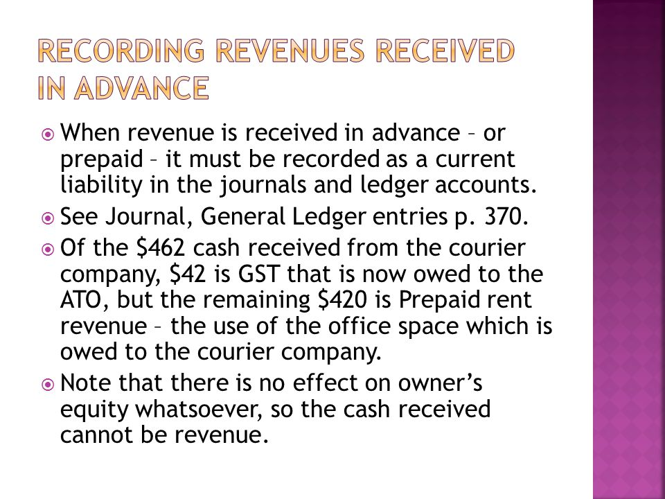 Recording revenues received in advance