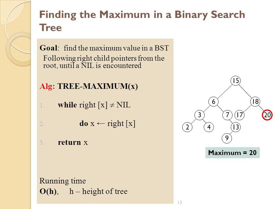 Finding the Maximum in a Binary Search Tree