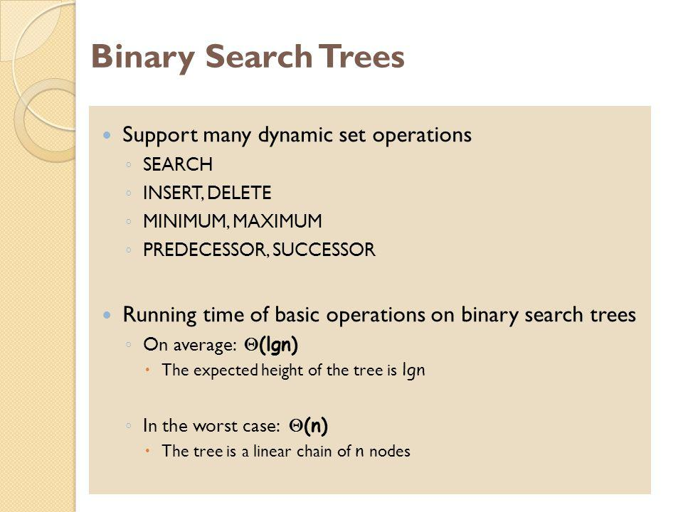 Binary Search Trees Support many dynamic set operations