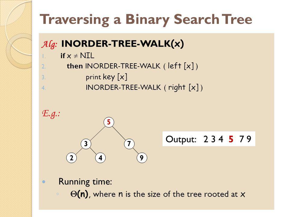 Traversing a Binary Search Tree