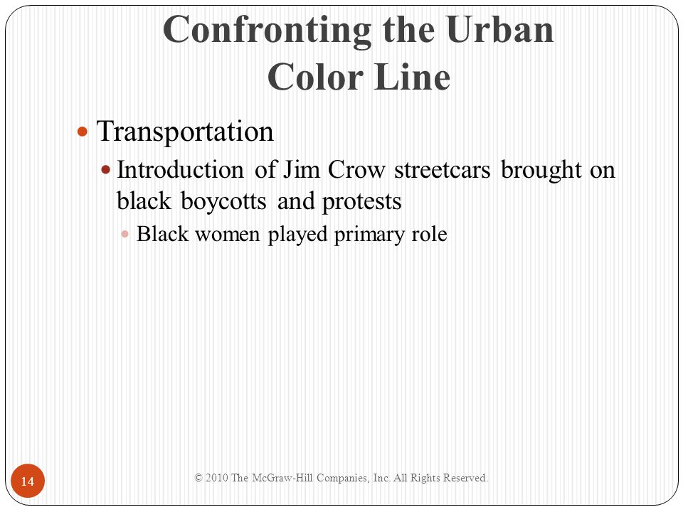 Confronting the Urban Color Line