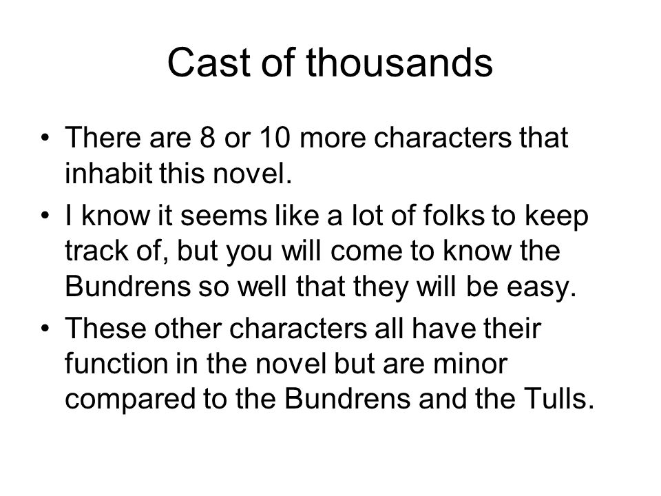 Cast of thousands There are 8 or 10 more characters that inhabit this novel.