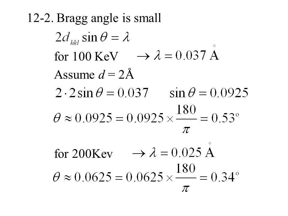 12-2. Bragg angle is small for 100 KeV Assume d = 2Å for 200Kev