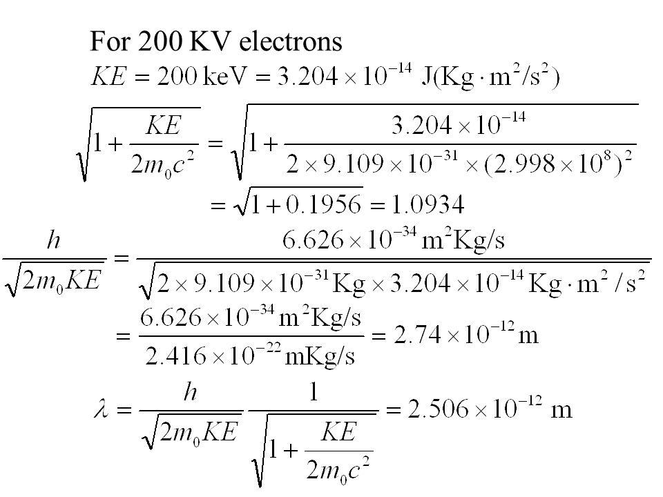 For 200 KV electrons