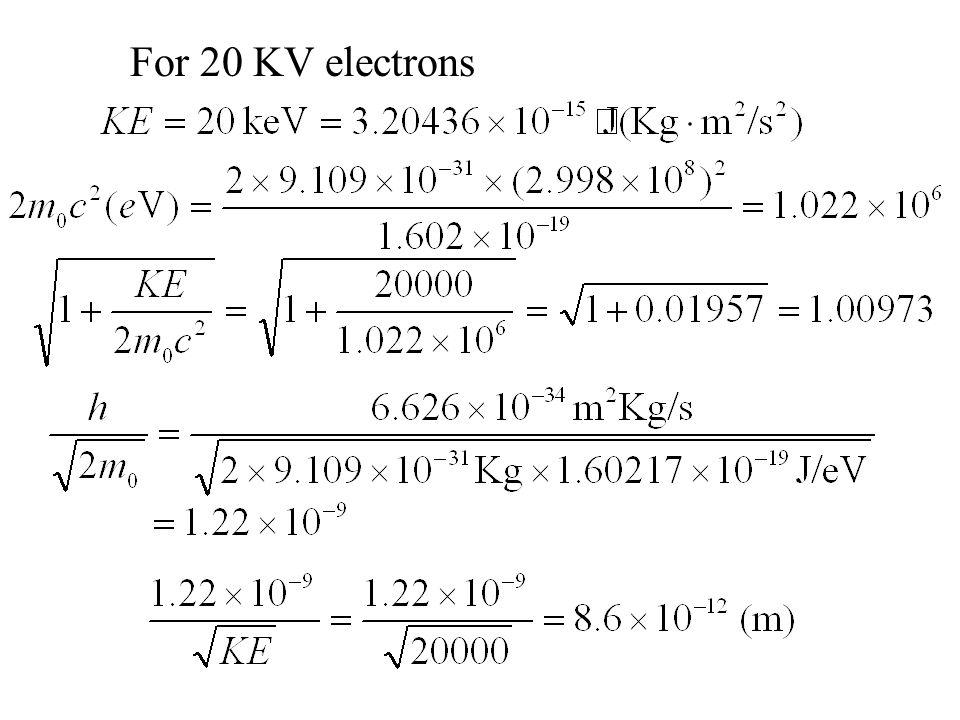 For 20 KV electrons