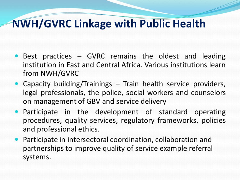 NWH/GVRC Linkage with Public Health