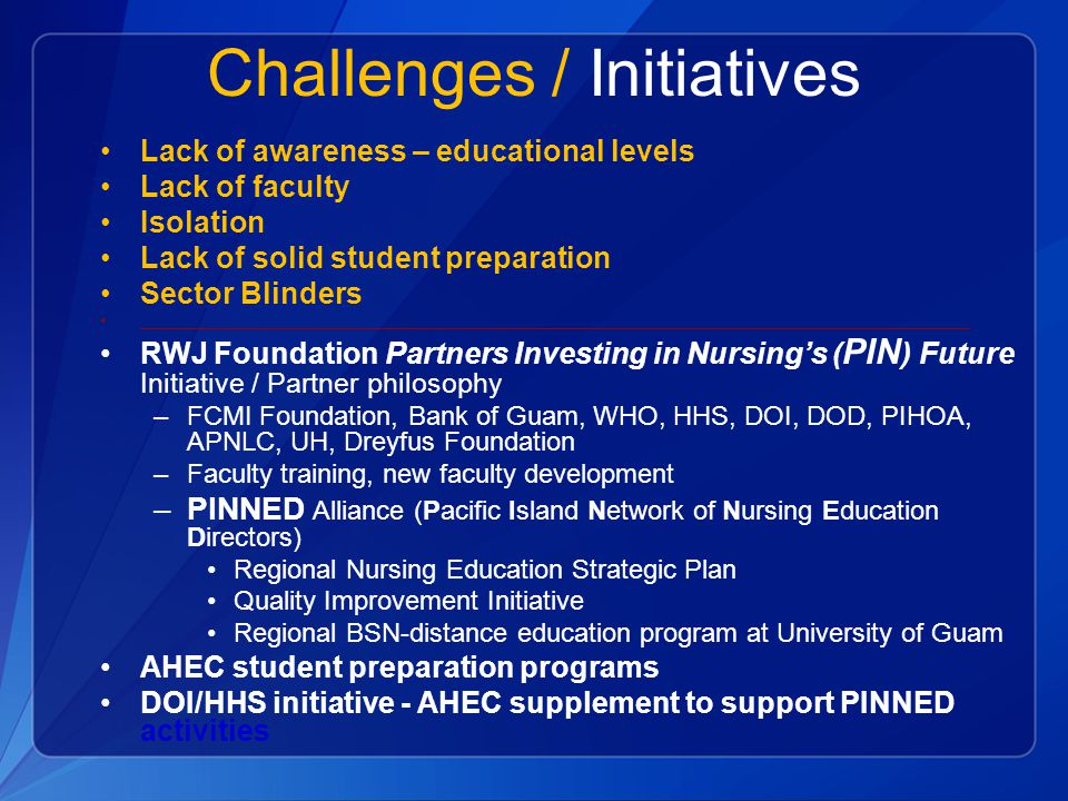 Challenges / Initiatives
