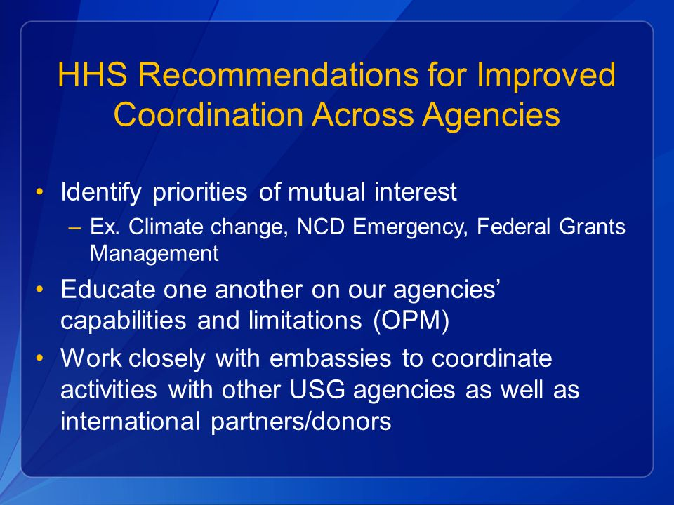 HHS Recommendations for Improved Coordination Across Agencies