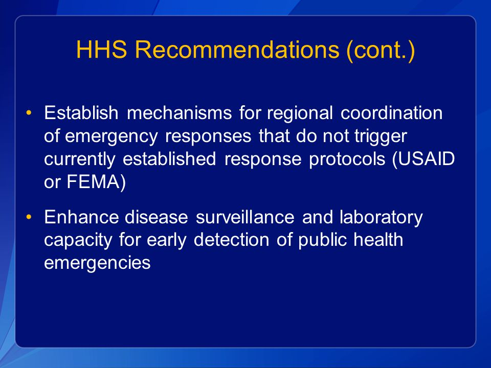 HHS Recommendations (cont.)
