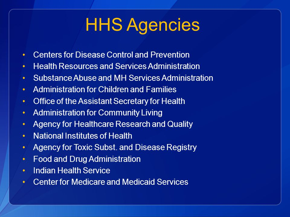HHS Agencies Centers for Disease Control and Prevention