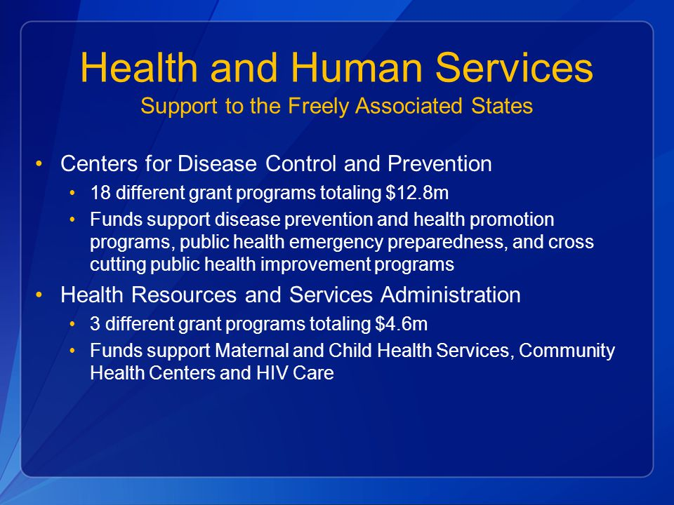 Health and Human Services Support to the Freely Associated States