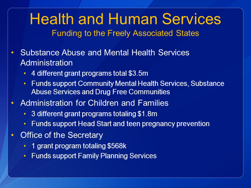 Health and Human Services Funding to the Freely Associated States