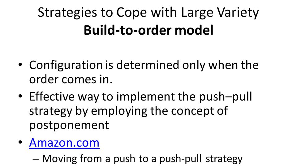 Strategies to Cope with Large Variety Build-to-order model