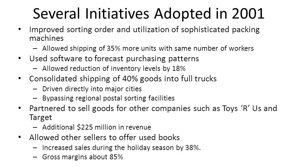 Several Initiatives Adopted in 2001