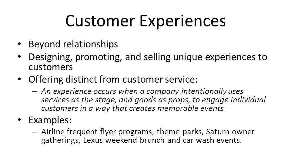 Customer Experiences Beyond relationships