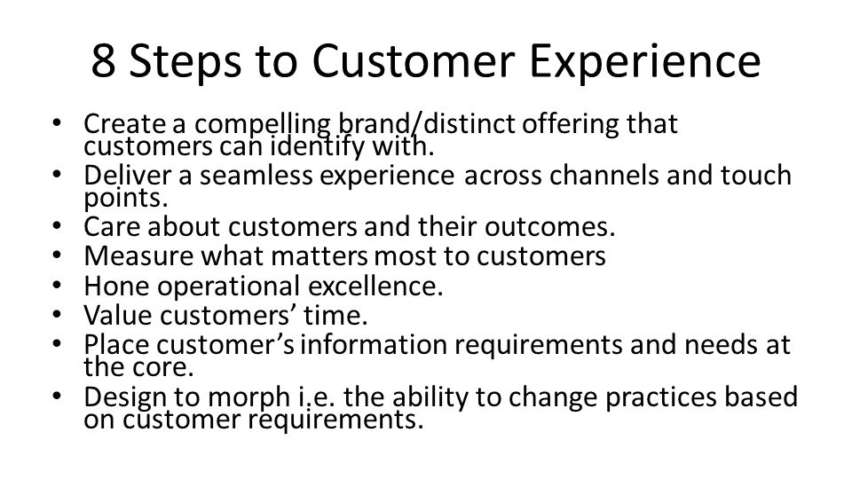 8 Steps to Customer Experience