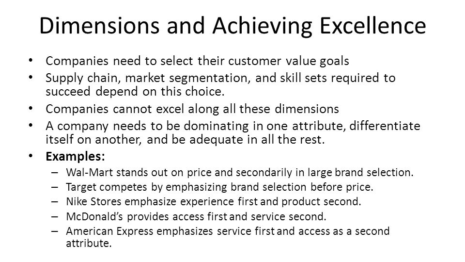 Dimensions and Achieving Excellence