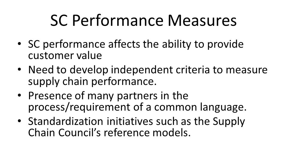 SC Performance Measures