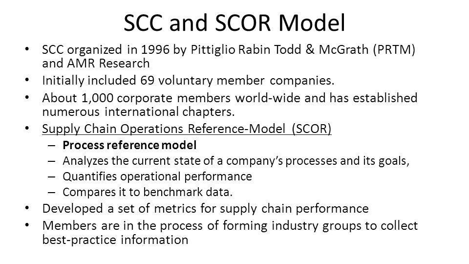 SCC and SCOR Model SCC organized in 1996 by Pittiglio Rabin Todd & McGrath (PRTM) and AMR Research.