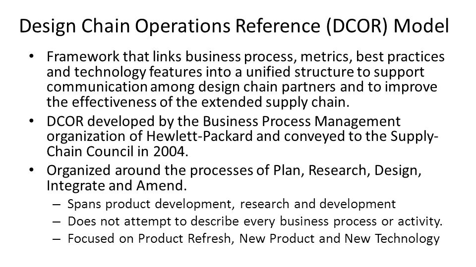 Design Chain Operations Reference (DCOR) Model