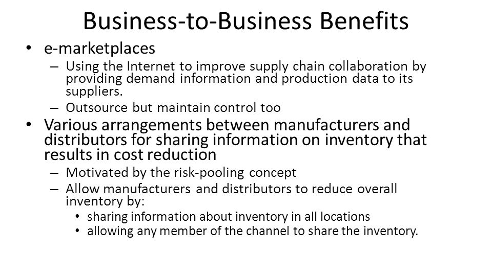 Business-to-Business Benefits