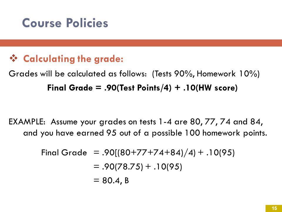 Final Grade = .90(Test Points/4) + .10(HW score)