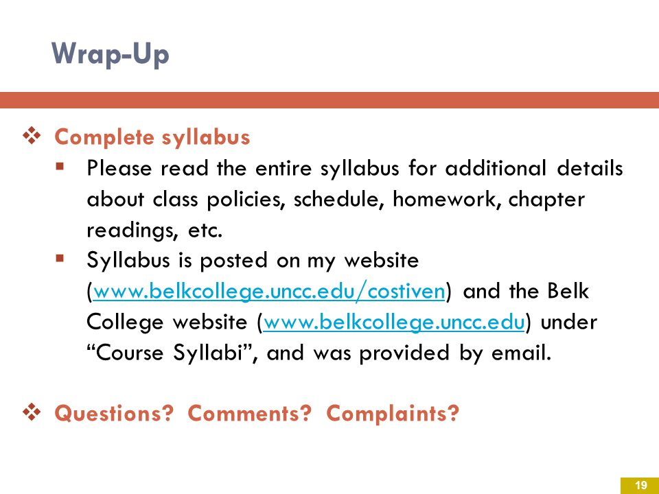 Wrap-Up Complete syllabus