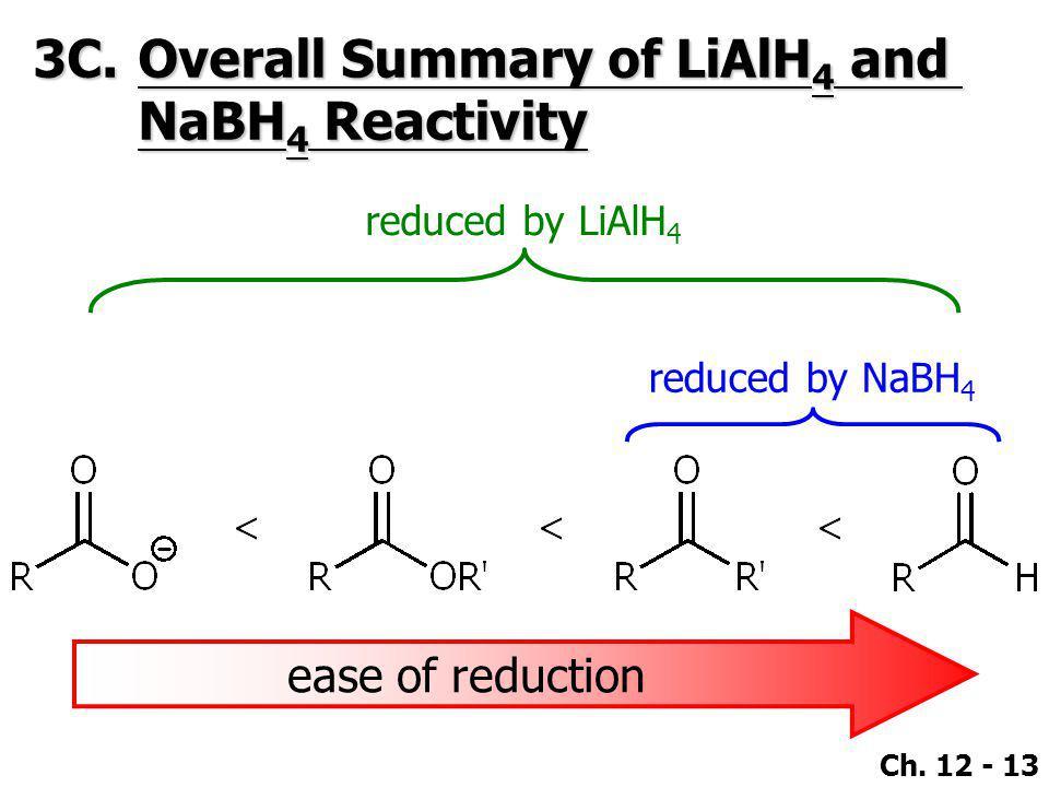 3C. Overall Summary of LiAlH4 and NaBH4 Reactivity