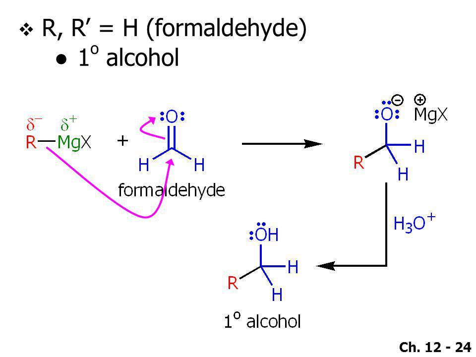 R, R' = H (formaldehyde) 1o alcohol