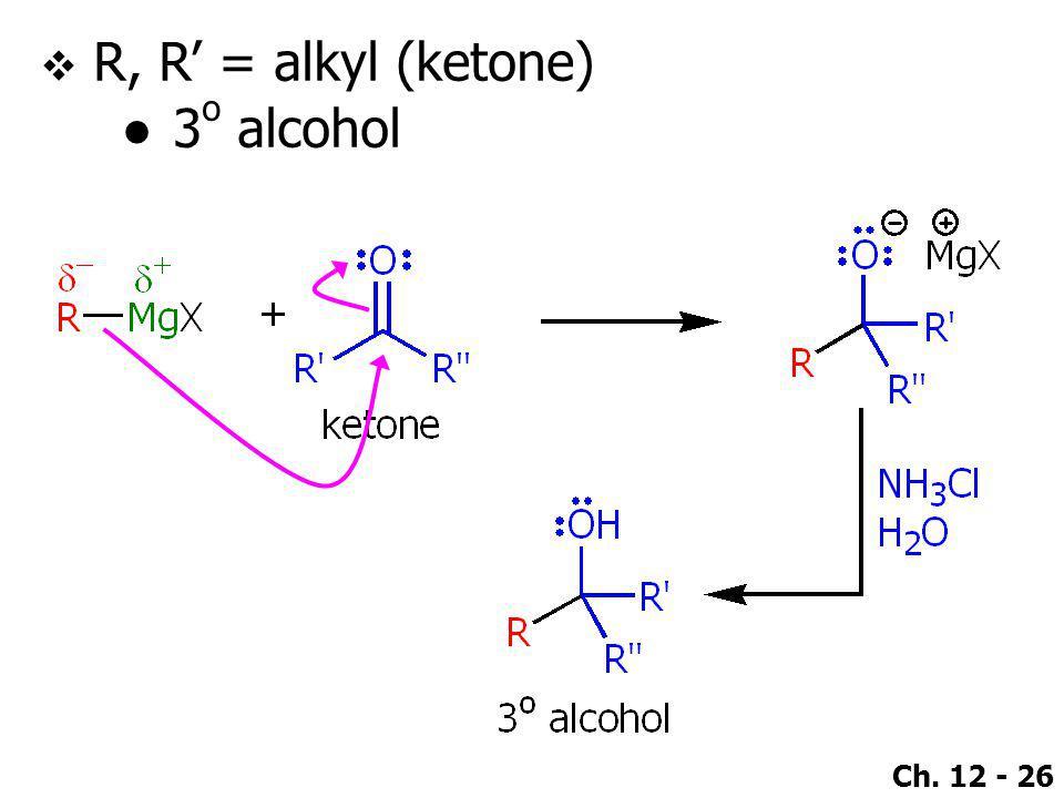 R, R' = alkyl (ketone) 3o alcohol