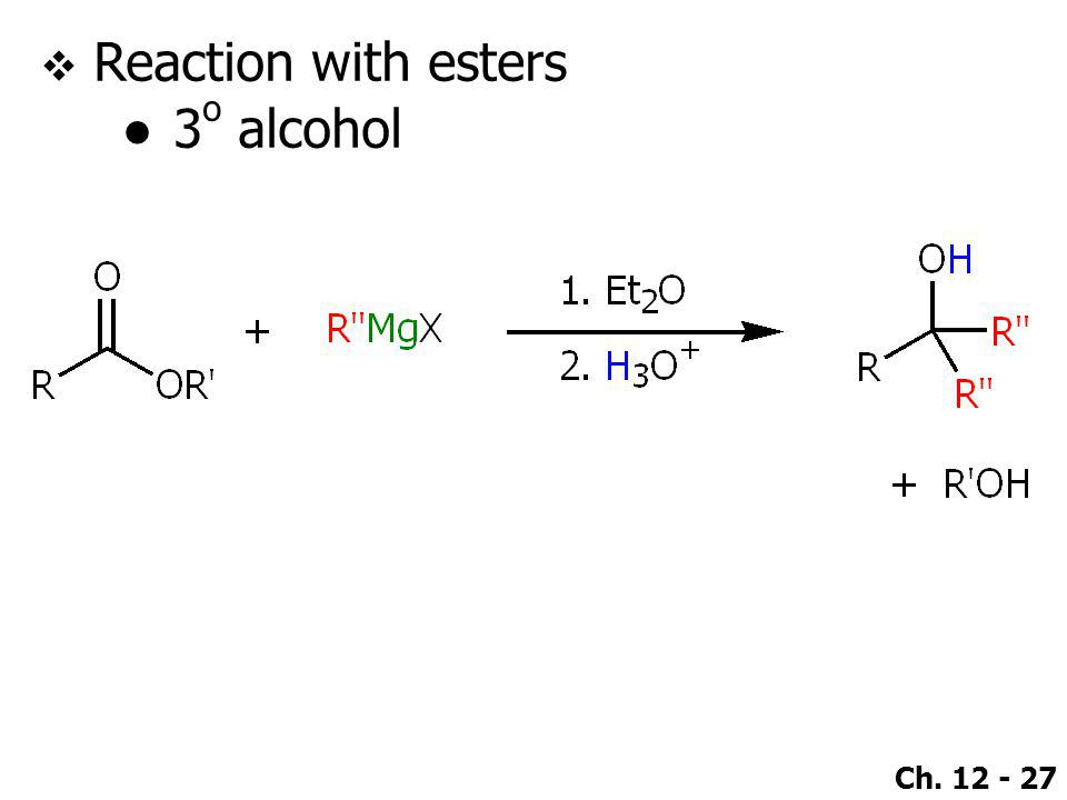Reaction with esters 3o alcohol