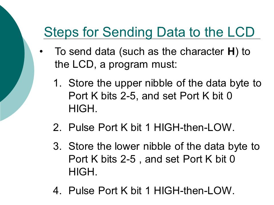 Steps for Sending Data to the LCD