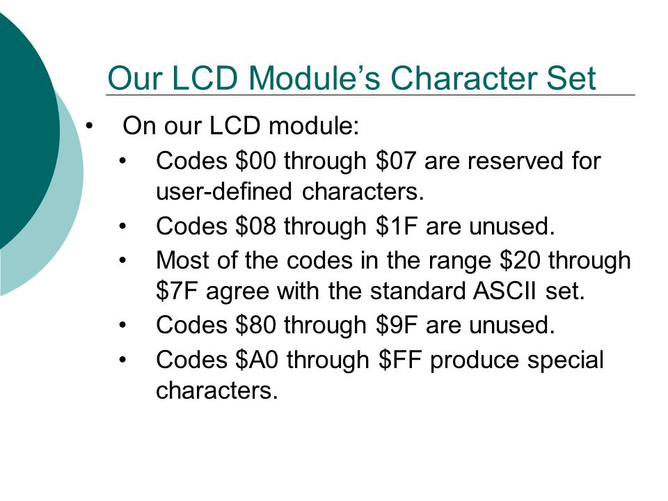 Our LCD Module's Character Set